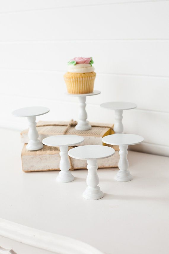 Set of 6 Mini Wooden Cupcake Stands  YOU CHOOSE by ThePaperedNest,