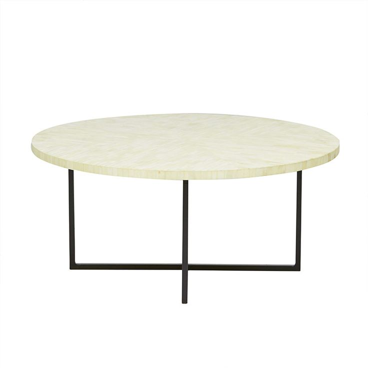 GlobeWest Taj Featherbone Round Coffee Table