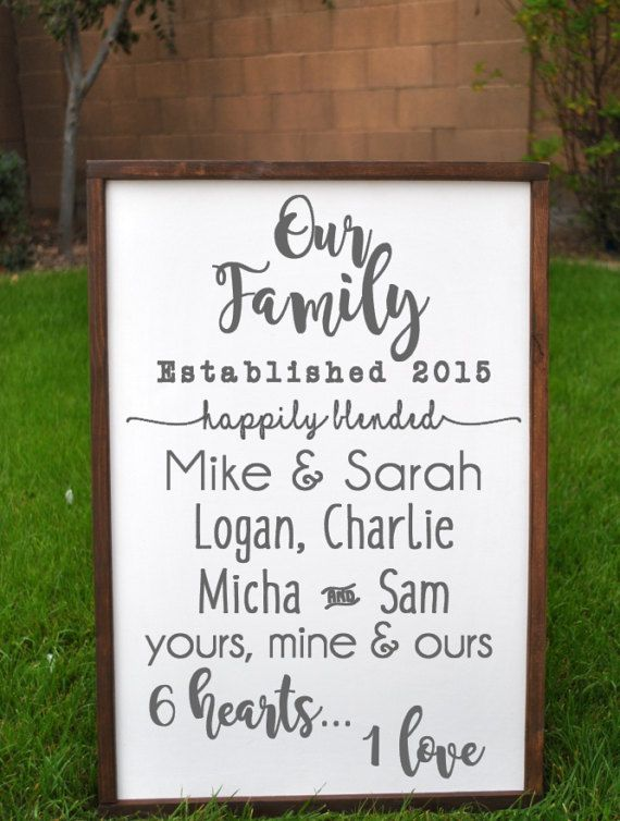 Such a special way to celebrate the beauty of a blended family. Proudly hang this custom Blended Family wood Decor Sign in your entry way, kitchen, living room, office, the possibilities are endless! Our farmhouse style signs are all the rage, and with good reason! Its rustic, its chic and it provides the home or office with a touch of vintage appeal. This gorgeous little gem is made of solid wood, featuring a white background, dark gray font and wood stained frame. The sign pictured…