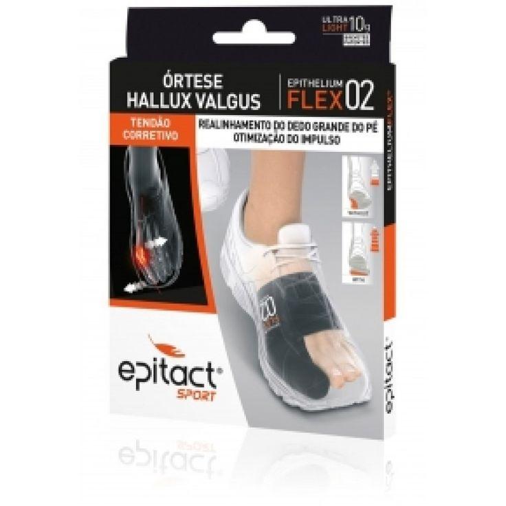 Epitact Órtese Hallux Valgus Epithelium Flex 02, tendão corretivo, realinhamento do dedo grande do pé, otimização do impulso. A órtese Epitact Sport atua sobre trés fatores complementares: