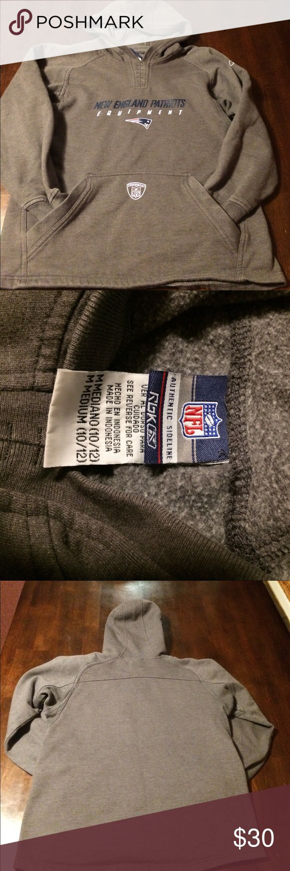 NewEngland Patriots sweatshirt Children's size 10/12 / medium reebok New England patriots sweatshirt, gently washed and worn no rips its stains., official NFL merchandise, purchased at home stadium of the patriots. Shirts & Tops Sweatshirts & Hoodies