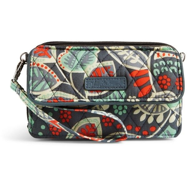 Vera Bradley All in One Crossbody and Wristlet for iPhone 6+ in... ($54) ❤ liked on Polyvore featuring bags, handbags, shoulder bags, nomadic floral, floral wristlet, zip wristlet, vera bradley shoulder bag, shoulder handbags and wristlet purse