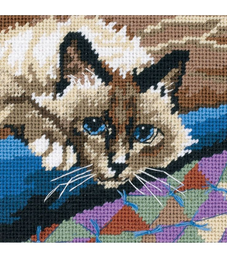 Dimensions Cuddly Cat Mini Needlepoint Kit Style