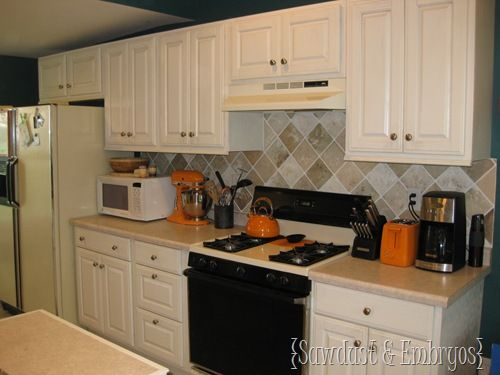 Painted Back splash - this is the before but I like it better than her second paint job.