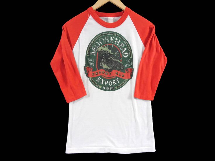 VTG 80s Moosehead Beer Raglan 3/4 Length Sleeve T-Shirt - XS Mens - Small Womens - New Brunswick - Nova Scotia - Vintage Clotthing by BLACKMAGIKA on Etsy
