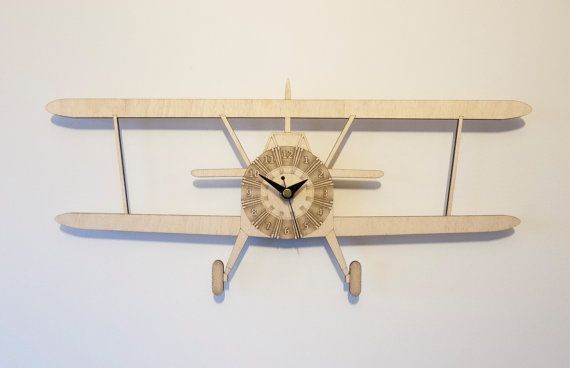 Wood Biplane Wall clock by BeamDesigns on Etsy