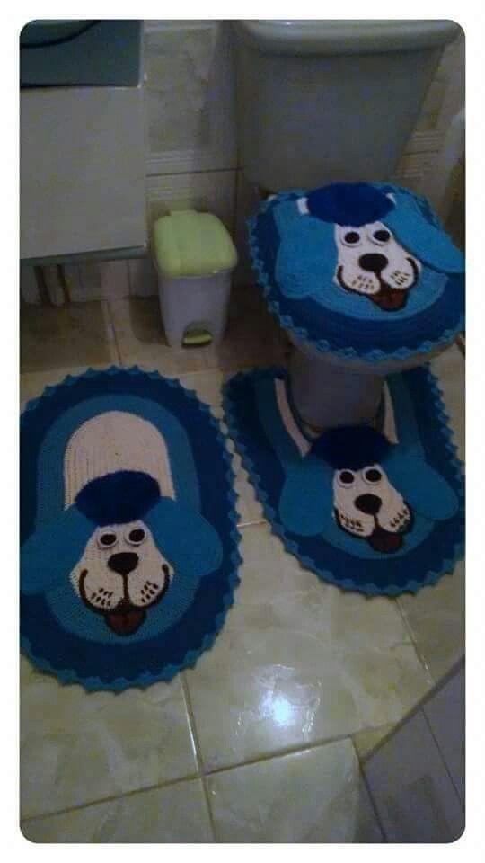 Jogo de banheiro | infantil | croche | barbante | Azul | Cachorrinho