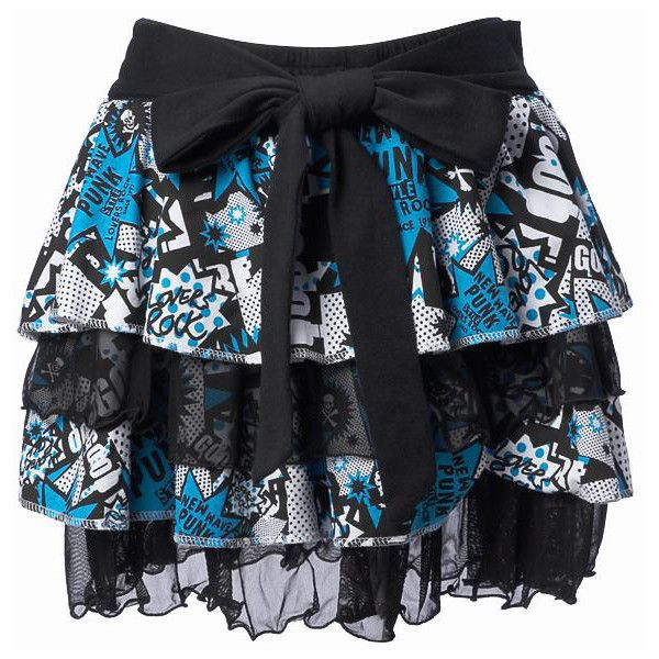 SUPER LOVERS 80's Pattern Tiered Skirt (Blue) ❤ liked on Polyvore