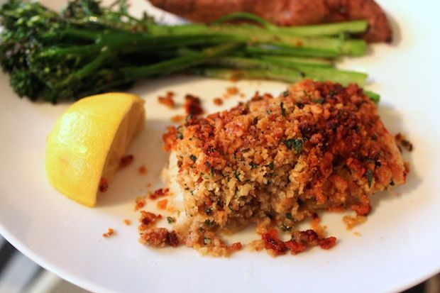 Post image for New England Baked Cod with Ritz Cracker Crumbs-I used the back to nature classic rounds- no partially hydrogenated oils, also added a little garlic to the butter mixture. -AS