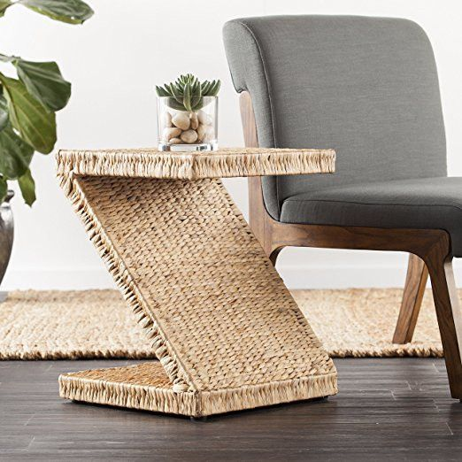 Now available @Perhai Natural Hyacinth Z-Shaped Accent Table Check it out here! Natural Hyacinth Z-Shaped Accent Table
