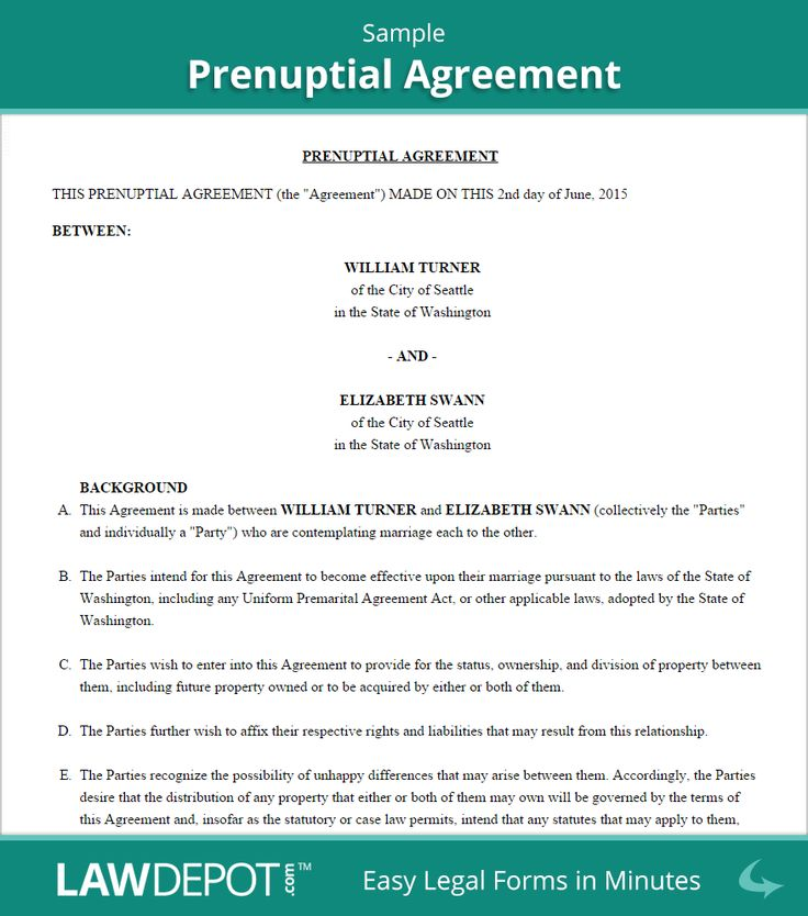 Prenuptial Agreement Form. Property Settlement Agreement Template