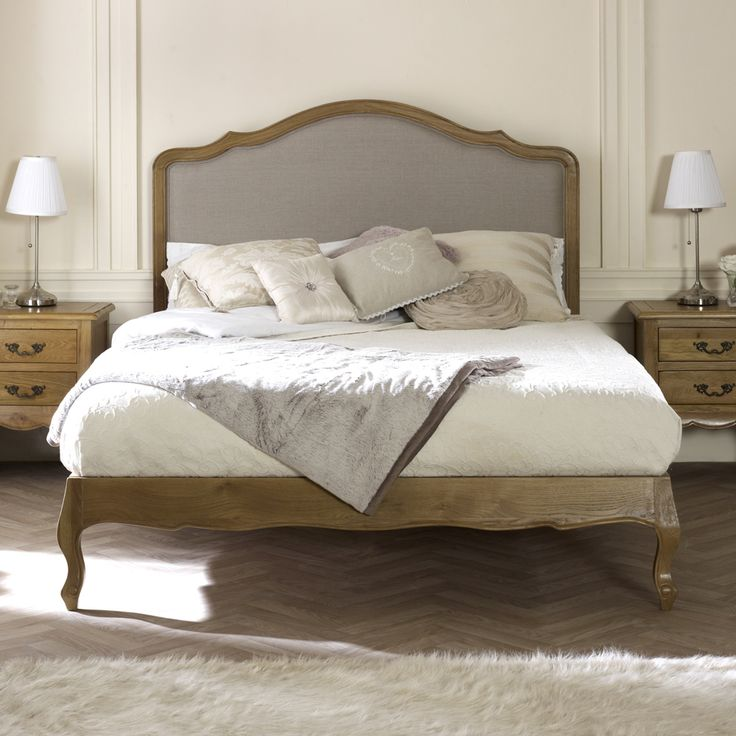 French Country Oak Upholstered 4ft 6in Double Bed
