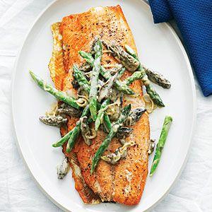 Grilled King Salmon with Asparagus, Morels, and Leeks | MyRecipes.com