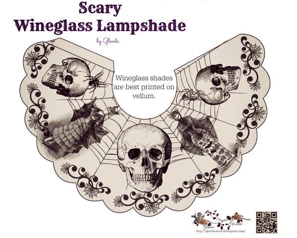 Free-printable Spooky Halloween Wineglass lampshades