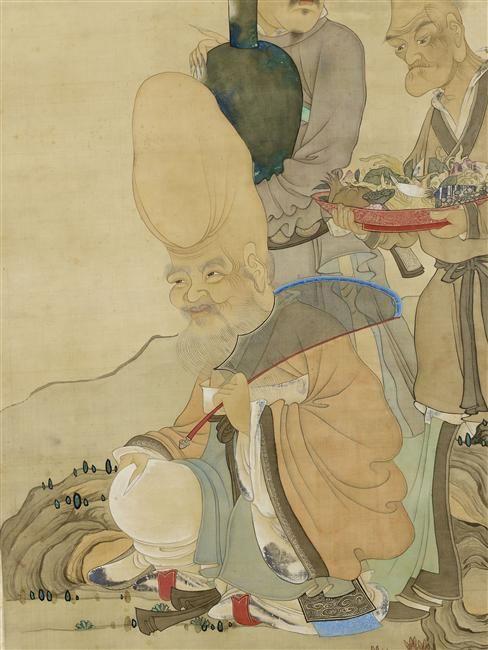 Shouxing et ses assistants (détail)  Trois personnages dont le Dieu de longévité avec tête allongée, accompagné de deux hommes Chen Hongshou (1598-1652)  (C) Musée Guimet, Paris, Dist. RMN-Grand Palais / Thierry Ollivier  dynastie Ming (1368-1644)  encre de Chine, peinture sur soie, rehauts de couleur  Chine