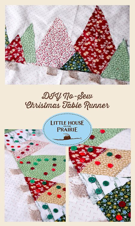 make a simple and easy no sew christmas tablerunner using little house on the prairie fabric. Black Bedroom Furniture Sets. Home Design Ideas