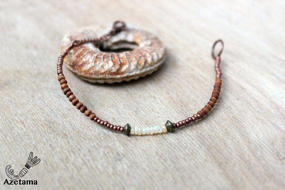 Bracelet Ethnique Opales Ethiopienne perles Cuivre Bois