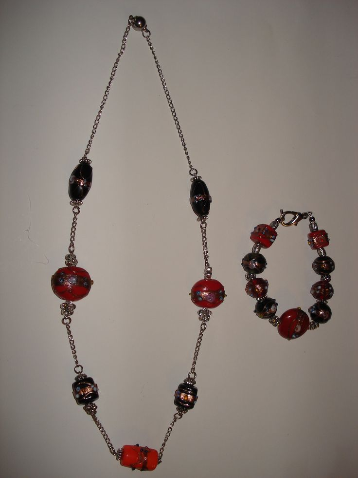 Indian Glass Beads Necklace & Bracelet