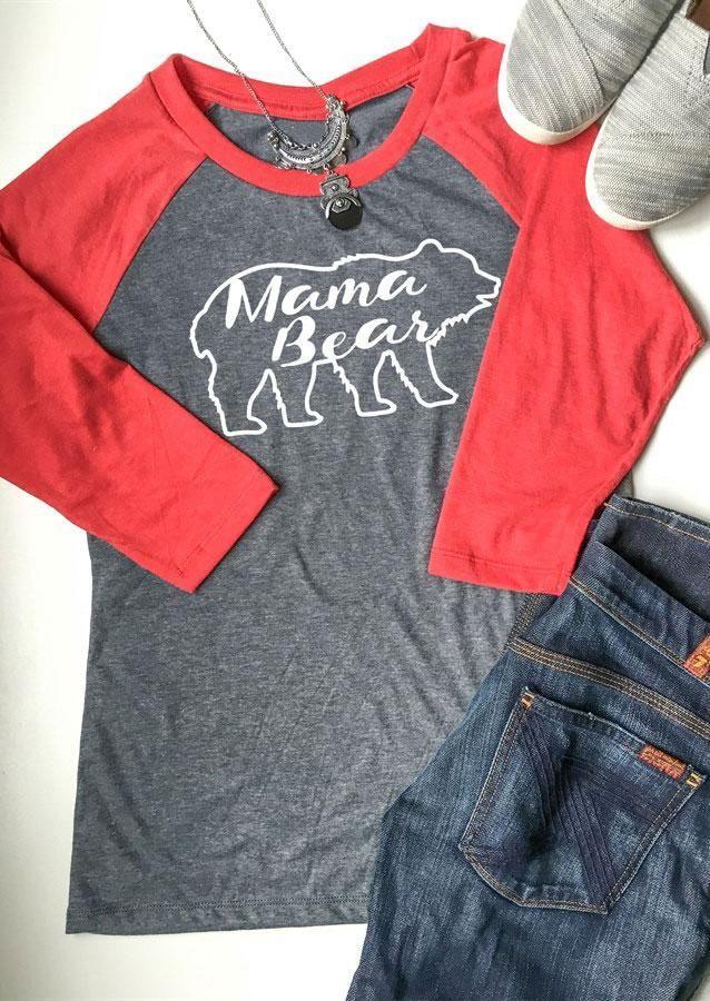 bacef003 #Valentines #AdoreWe #Fairy Season - #MAMA Mama Bear Letter Printed Splicing  O-Neck T-Shirt - AdoreWe.com