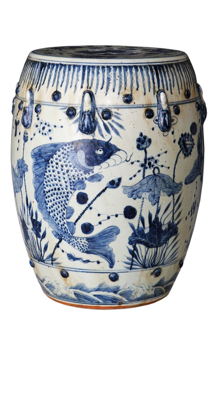 Beautiful Vintage Style Blue and White Porcelain Garden Stool Fish Motif