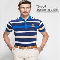 2015 sport tshirt nuovo uomini d'affari europei e americani a righe a maniche corte t-shirt da uomo di grandi dimensioni padre armadi t-shirt