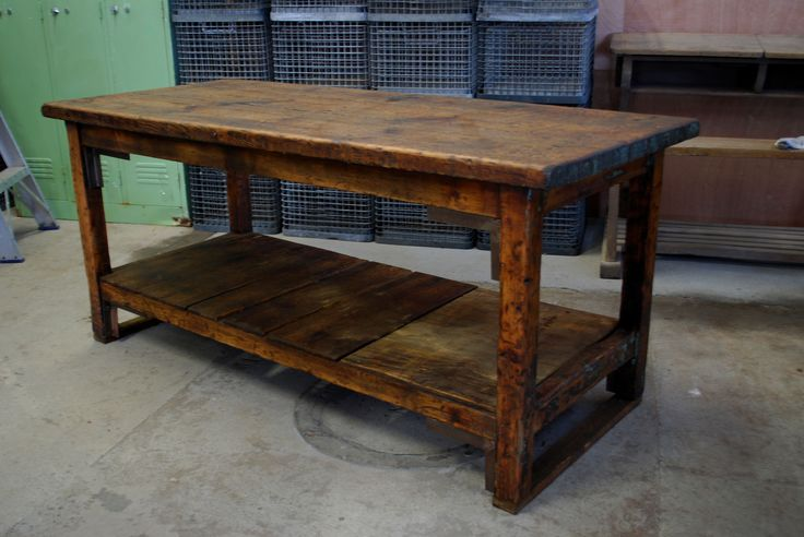 Early 1900's French Factory Table  Vintage Industries