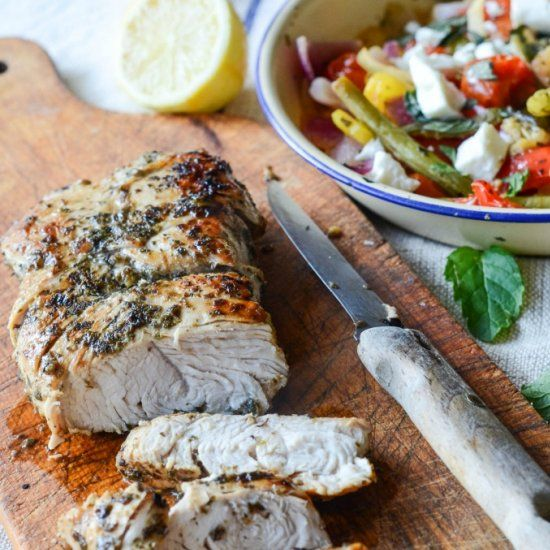 Greek style turkey fillet with a warm salad perfect for an alternative light and healthy  festive lunch