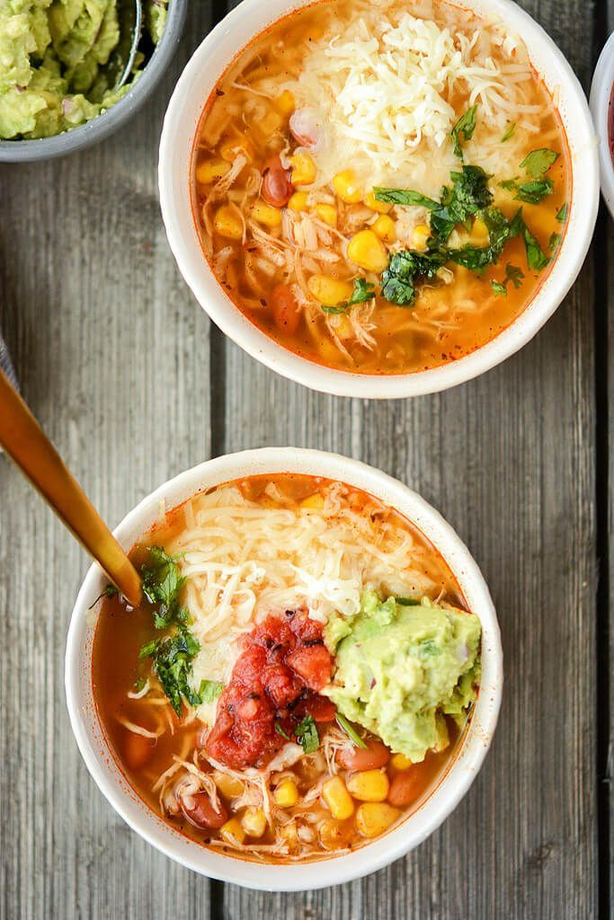 Slow Cooker Chipotle Chicken Burrito Bowl Soup