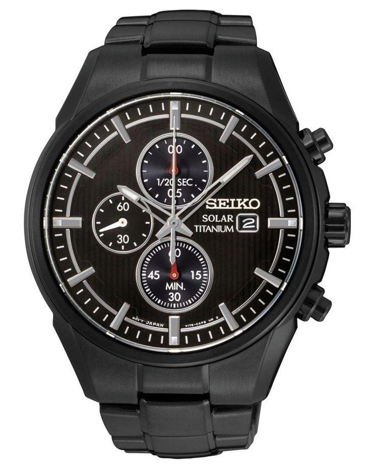 Seiko | Men's Chronograph-solar Black Ion-plated Titanium Bracelet Watch 42mm Ssc393 for Men | Lyst