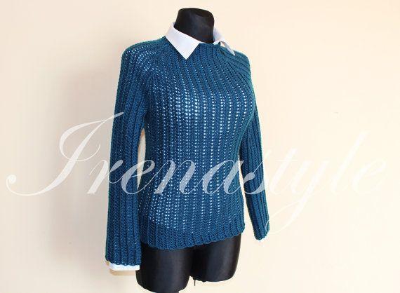 Wool sweater    crochet handmade  custom made by Irenastyle
