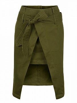 Shop Army Green High Waist Wrap Front Asymmetric Skirt from choies.com .Free shipping Worldwide.$26.39