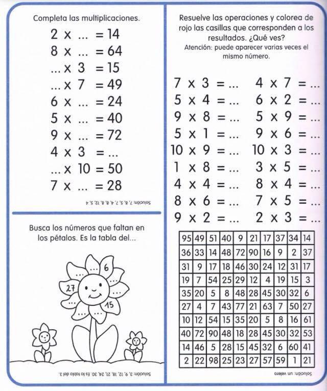 cuaderno tablas de multiplicar