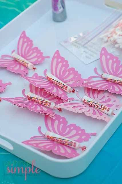 Easy to make butterfly treats with Smarties taped on.