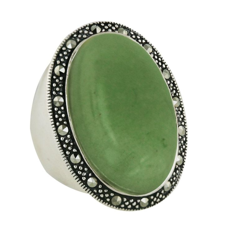 .925 Sterling Silver with Marcasite Oval Shaped Natural Green Jade Ring (6):