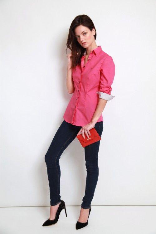Chemise rose stretch |chemise col et poignet en opposition| chemise femme| Chemise mini-col| chemise rose| chemise simple retors| chemise stretch| chemise bas liquette|chemise gorge surpiquée, chemises sur mesure femme