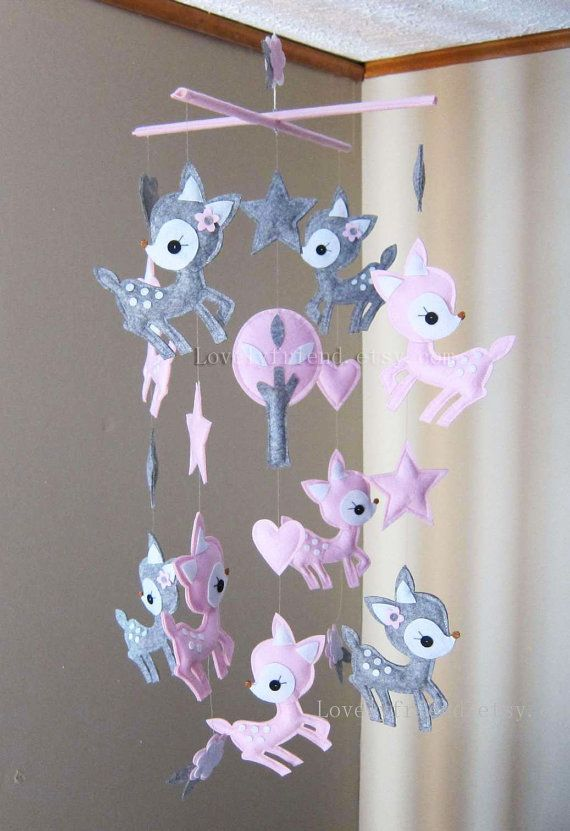 "Baby Mobile - Nursery Mobile - Long Decorative Stars and Deers crib Mobile - ""Pink Deers Love Pink Stars"" Mobile  (Custom Color Available)"