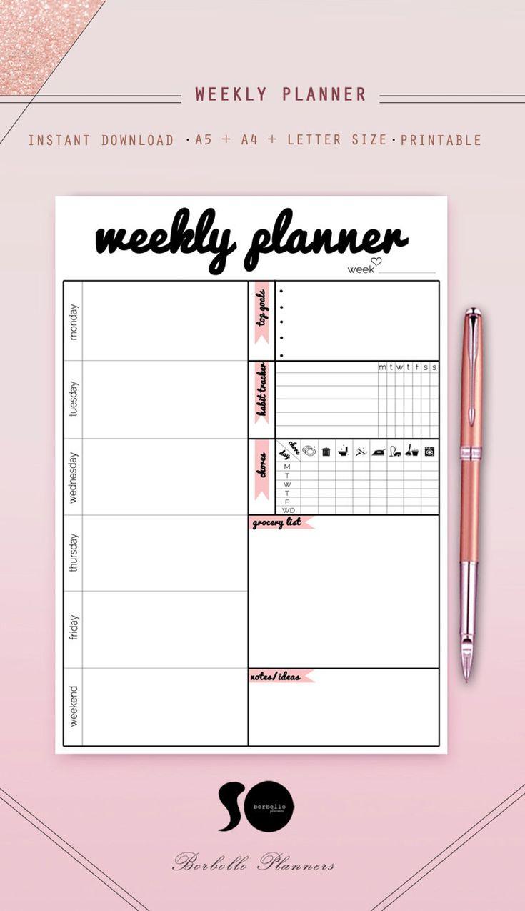 Weekly Printable Planner Journal Printables Weekly Journal Etsy Weekly Planner Printable Printable Planner Planner Lettering