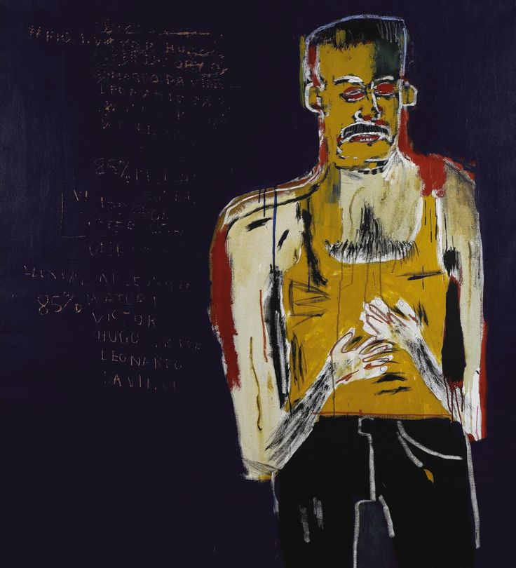 "Jean-Michel Basquiat (American, 1960-1988), ""Da Vinci's Water Theory"" For Victor Hugo, 1983. Acrylic on canvas, 66 x 60.25 in."