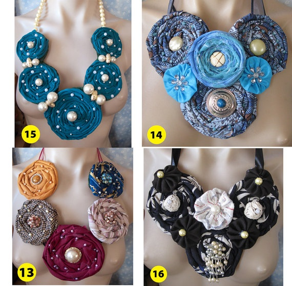 Handmade Rolled Fabric Flower Rose Statement Necklace by vitbich, $29.99