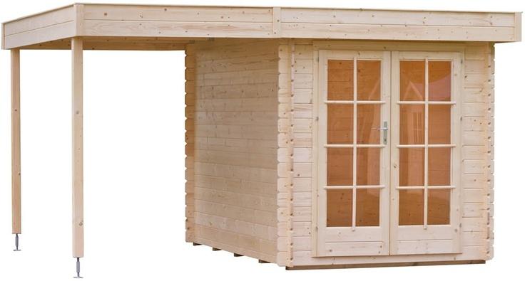 Blokhut / tuinhuisje model Florian 300 met overkapping / zijluifel van Outdoor Life Products