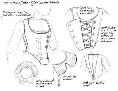 Kyoto Jacket. American Duchess:Historical Costuming: Design Sketches | Historical Costuming and sewing of Rococo 18th century clothing, 16th century through 20th century, by designer Lauren Reeser