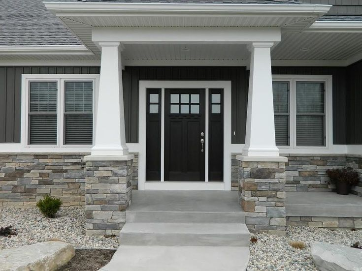 Dark Gray Siding Exterior Craftsman With White Window Trim