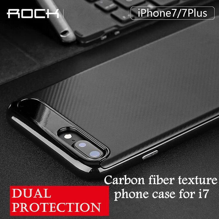 Rock Luxury High Quality carbon fiber Soft phone Case For iPhone 7 7plus Leather Skin 3D Texture Tire Defender back Cover