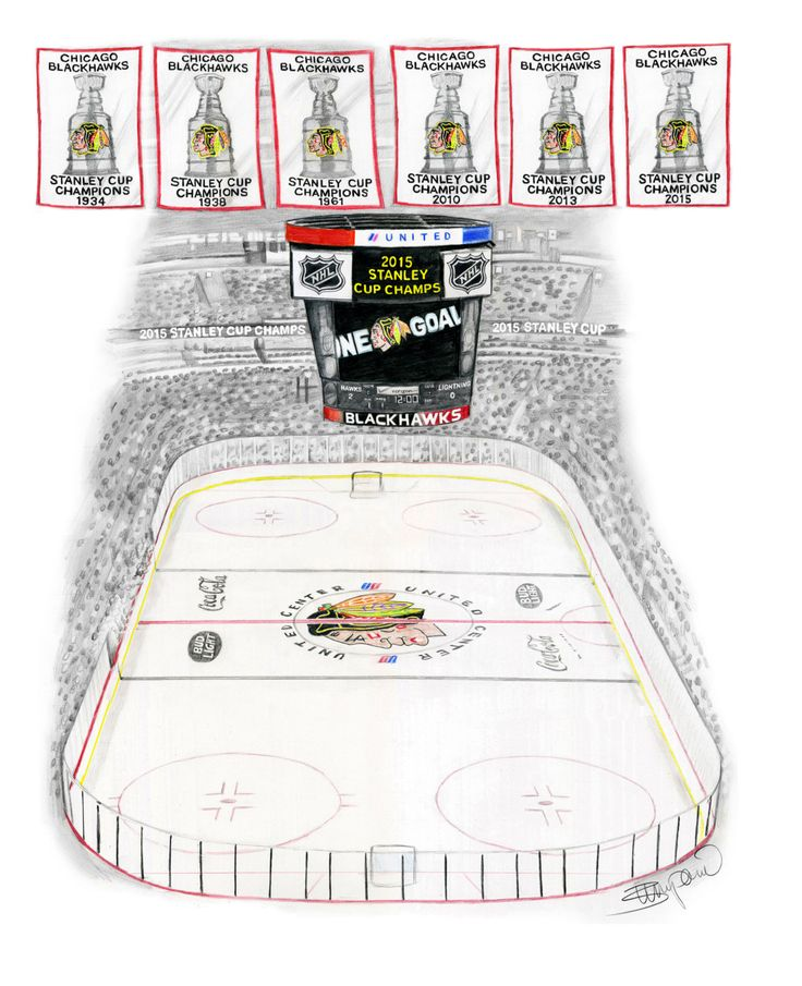 Chicago Blackhawks 2015 Stanley Cup United Center Pencil Drawing - 11x14""