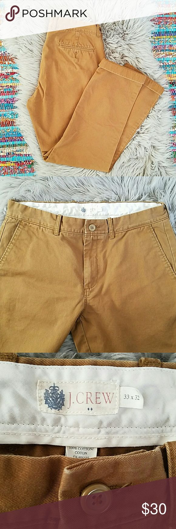 J.Crew Men's Chino Pants in Tan 33 x 32 These are men's chino pants in good used condition  J.Crew. Good used condition. Dark tan color. J. Crew Pants