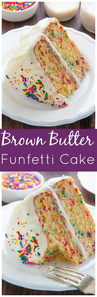 Two layers of brown butter funfetti cake slathered in homemade buttercream frosting! Heaven.