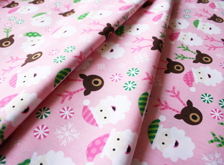 Fabric Finders #1288 Santas on Pink