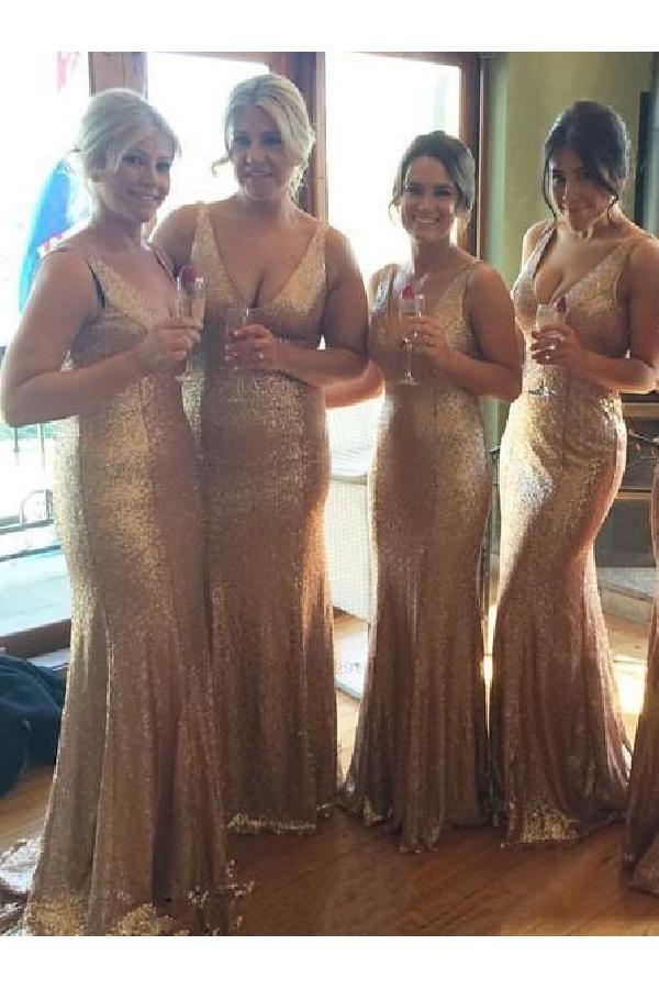 Hot Sale Trendy 2019 Bridesmaid Dresses Luxurious V-neck Long Sequins Bridesmaid Dress/Wedding Party