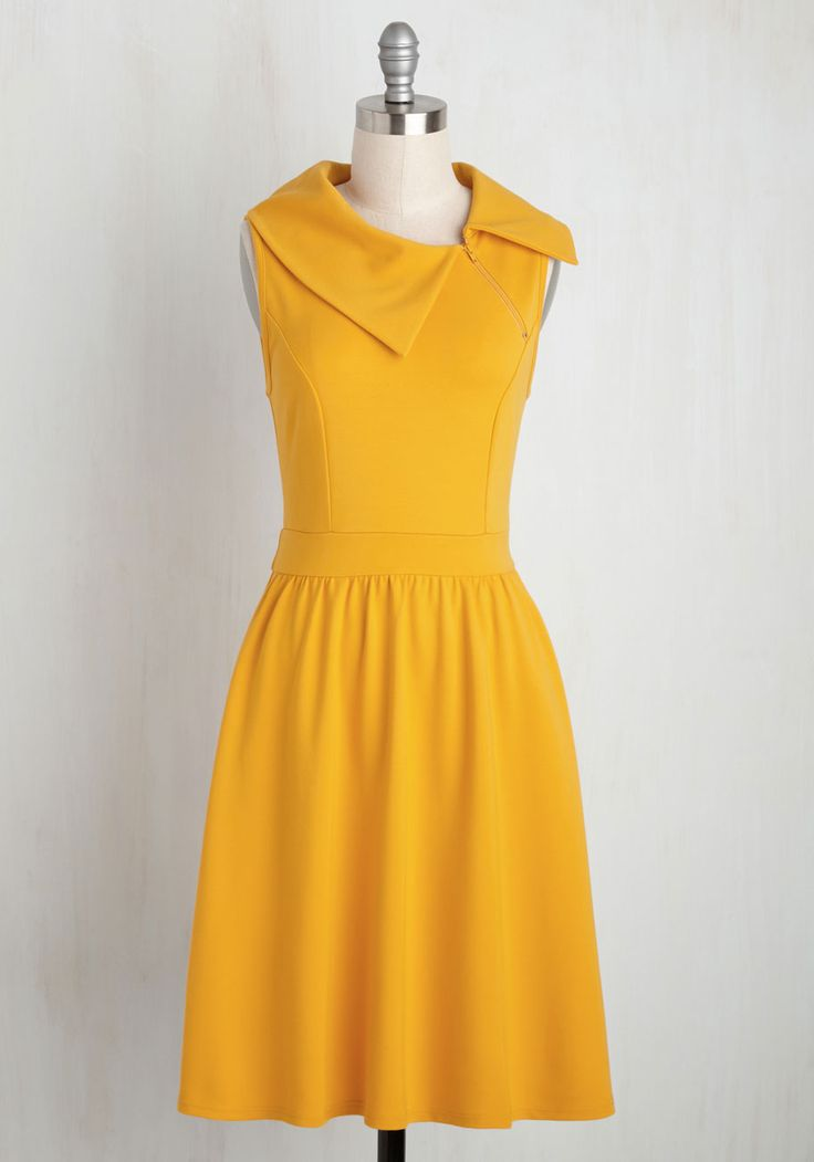 Trolley Tour Dress in Marigold by ModCloth - Yellow, Solid, Casual, A-line, Sleeveless, Summer, Knit, Better, Exclusives, Private Label, Mid-length, Variation, Work, Fit & Flare