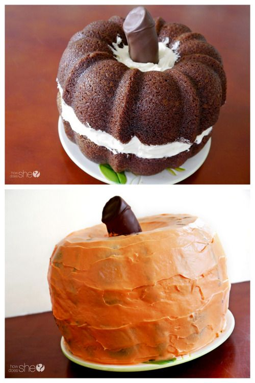 DIY Pumpkin Shaped Cake Recipe and Tutorial from How Does She. This is bundt shaped pumpkin cakes with cream cheese frosting. And for more Halloween cakes go here. What else can you make with a bundt cakes? A lot of bundt cakes? This giant snake cake from Schooled in Love.